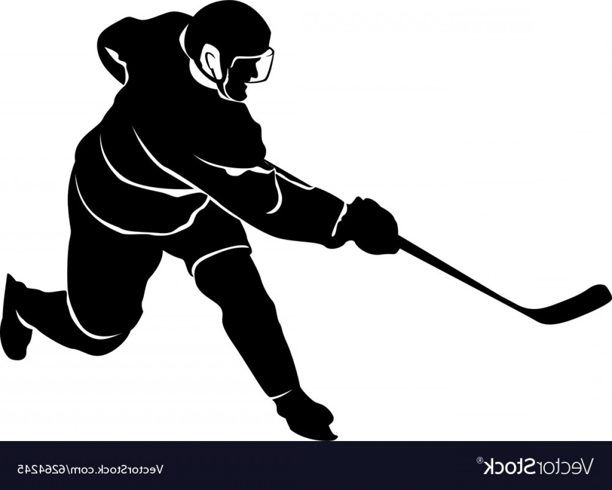 Hockey Player Silhouette Vector: Silhouette Of A Hockey Player Vector