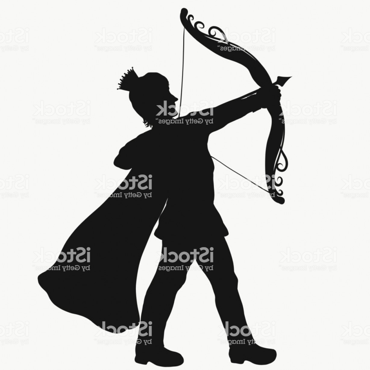 Vector Archery Silhouette: Silhouette Of A Young Prince Shooting From A Beautiful Bow Gm