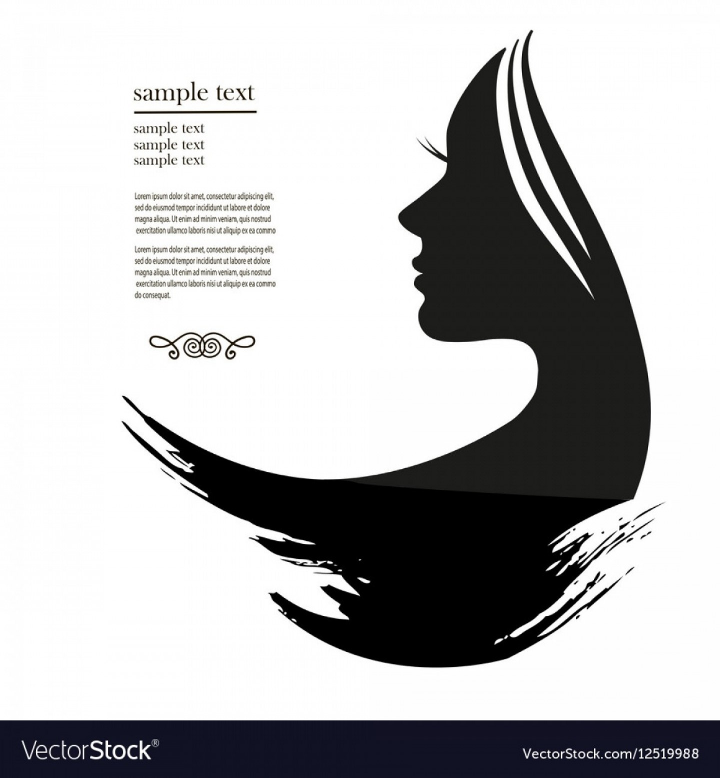 Short Men's Hair Vector: Silhouette Of A Young Woman With Long Hair Vector