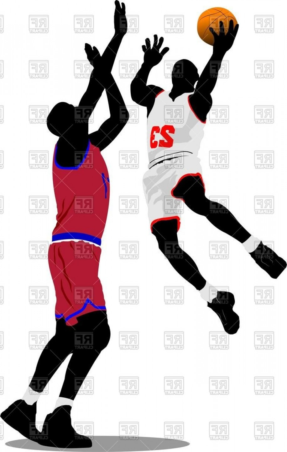 Motion Basketball Vector: Silhouette Of Basketball Players In Motion Vector Clipart