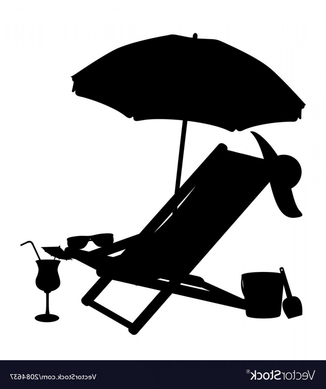 Umbrella Vector Black: Silhouette Of Beach Chairs And Umbrellas Vector