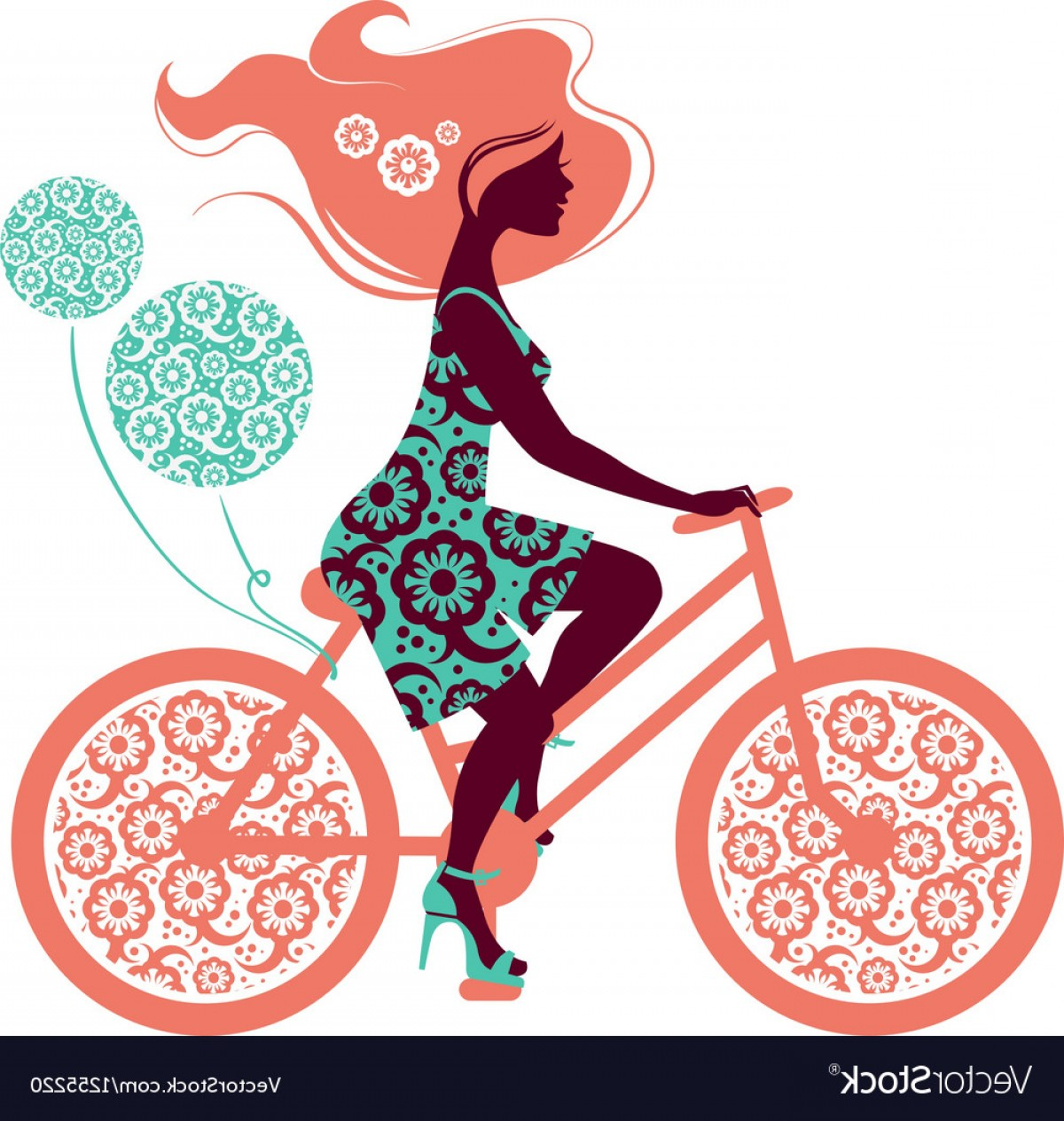 Beautiful Bicycle Vector: Silhouette Of Beautiful Girl On Bicycle Vector