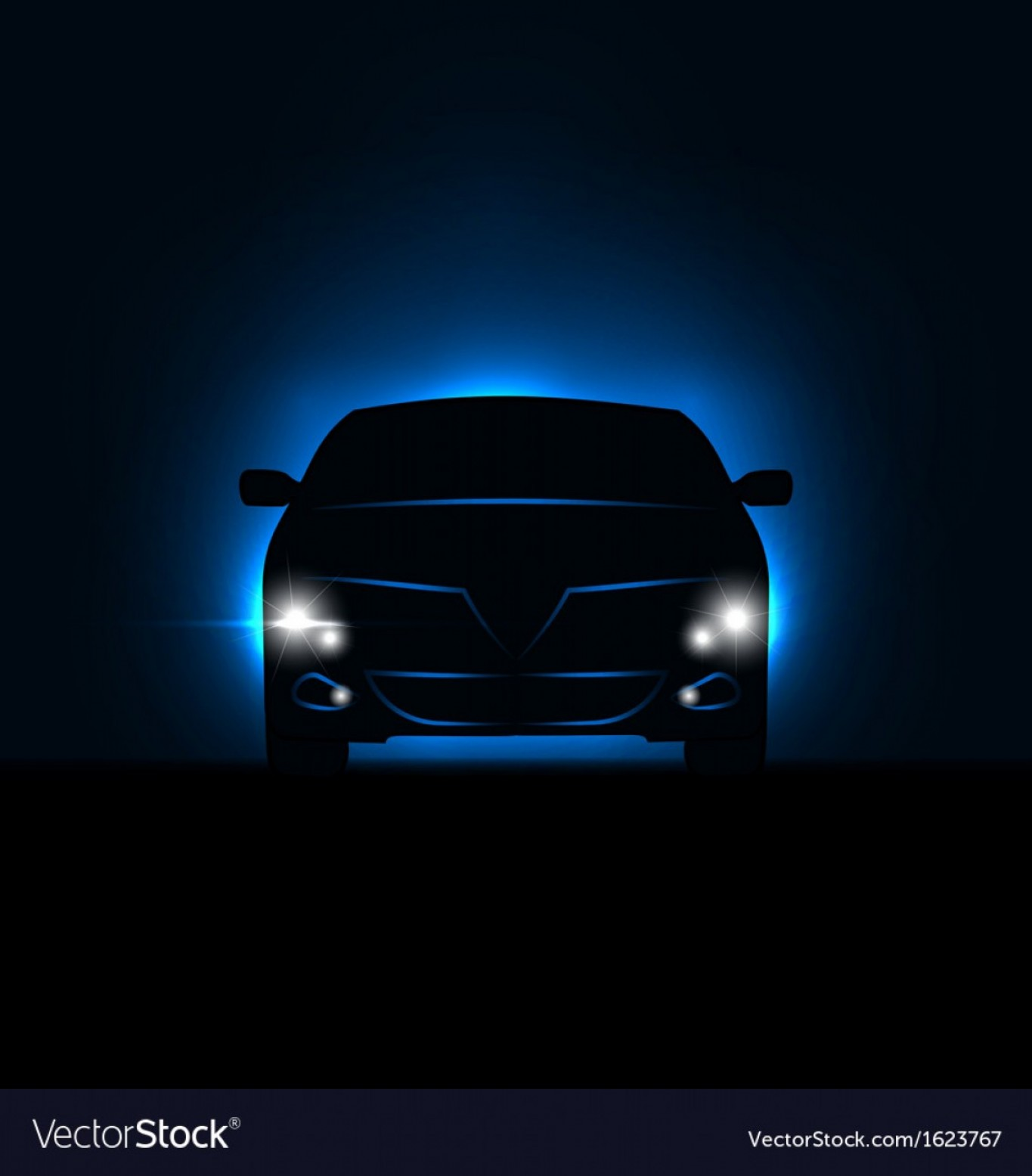 Vector Round Headlight: Silhouette Of Car With Headlights In Darkness Vector
