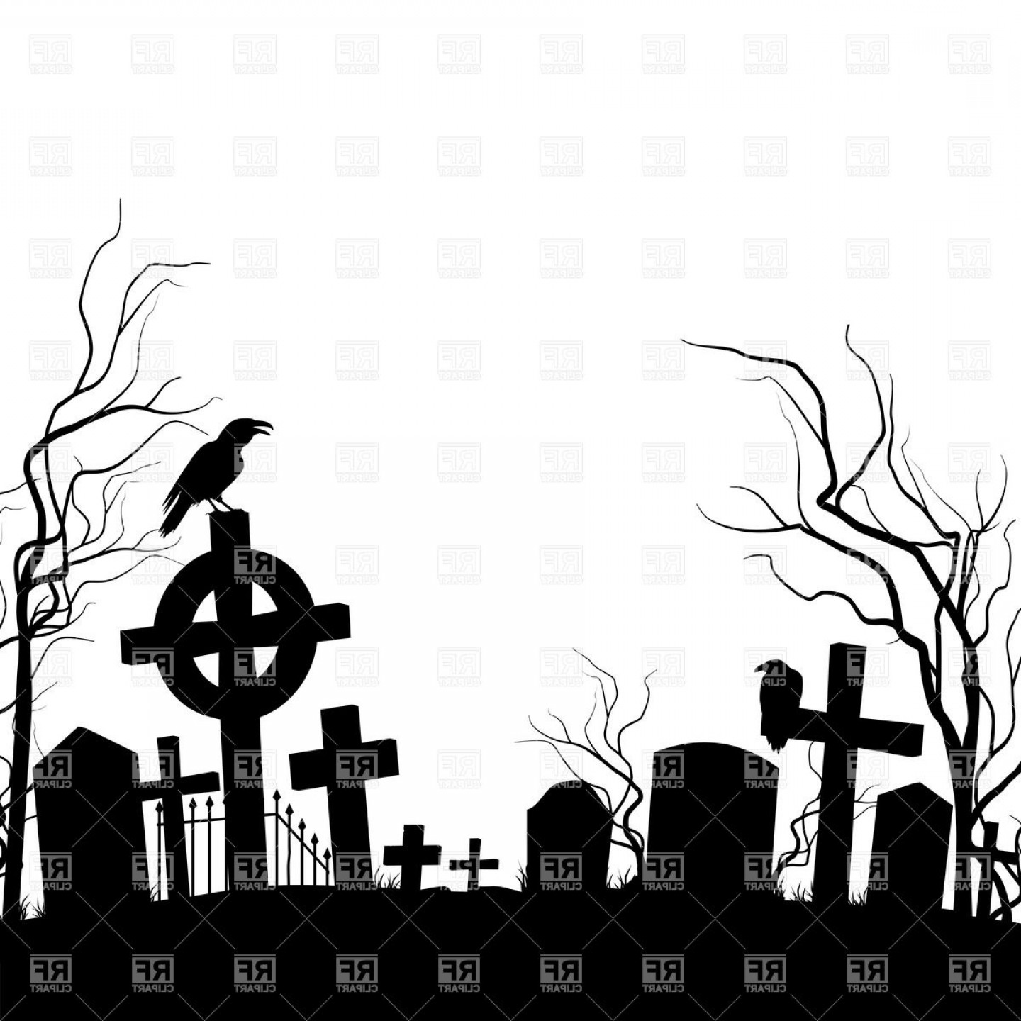 Gravestone Outline Vector: Silhouette Of Cemetery With Raven Sitting On The Tombstone Vector Clipart