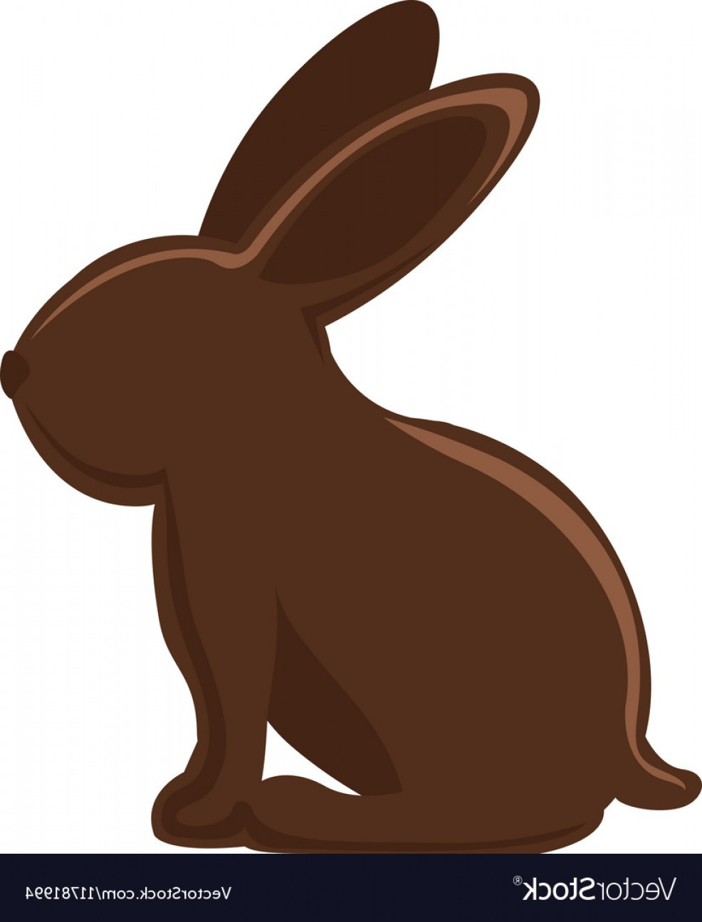 Chocolate Bunny Vector: Silhouette Of Chocolate Rabbit With Long Ears Vector