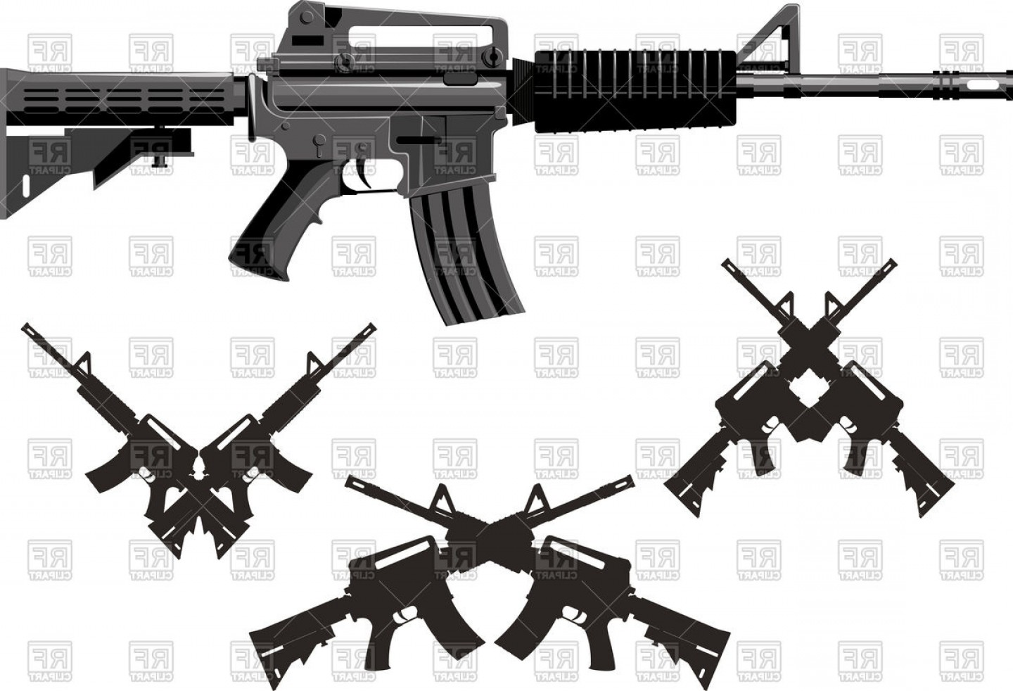 American Gun Vector: Silhouette Of Classic American Weapon Submachine Gun Vector Clipart