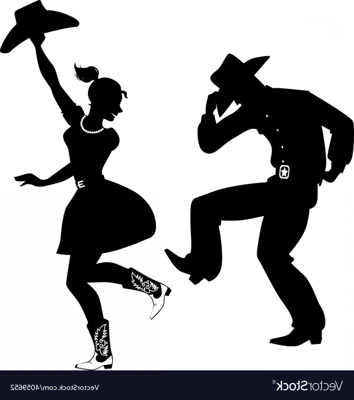 Vector Swing Dancers: Silhouette Of Country Western Dancers Vector