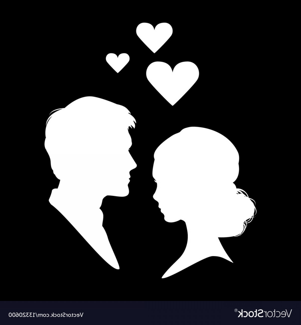 Vector Silhouette Love: Silhouette Of Couple In Love Eps Vector