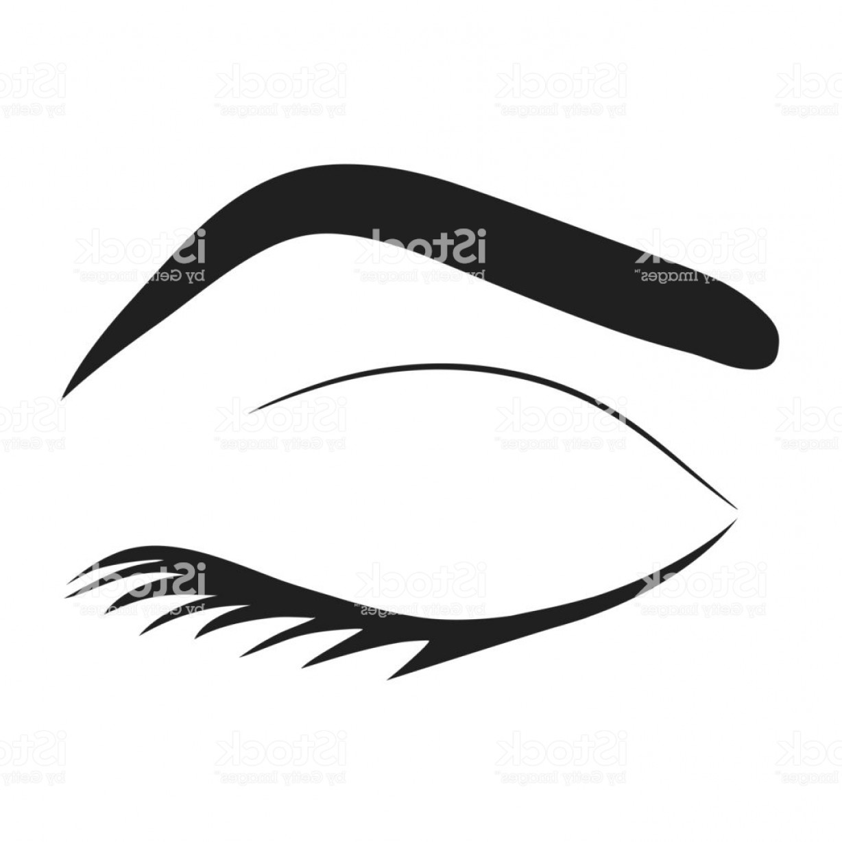 Top Eye Lashes Vector: Silhouette Of Eye Lashes And Eyebrow Stock Vector Illustration Gm