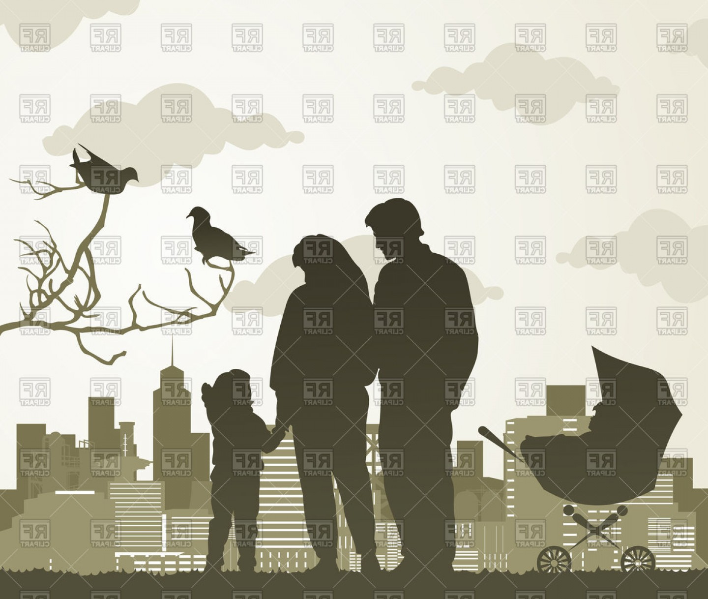Family Silhouette Vector Art: Silhouette Of Family With Two Children On City Landscape Vector Clipart