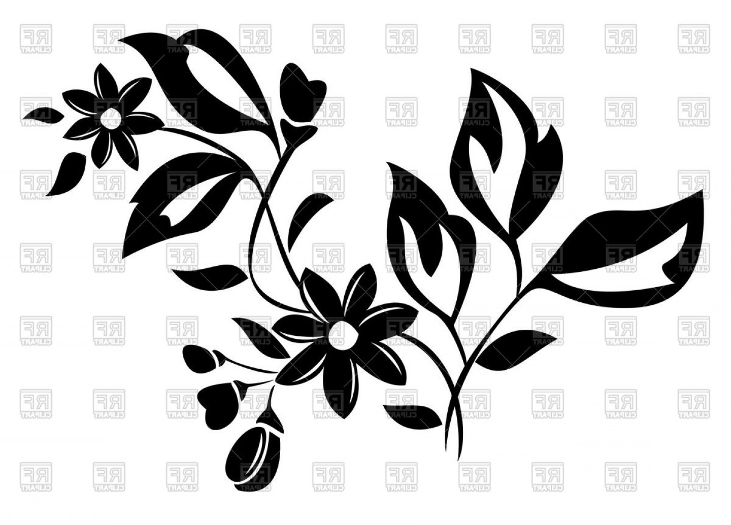 Vector Leaf Graphicd: Silhouette Of Flower With Leaves Vector Clipart