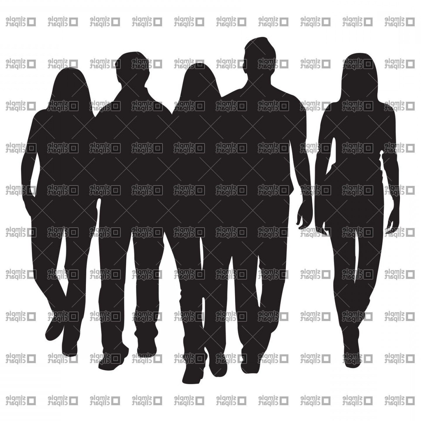Sillouhette Vector Group: Silhouette Of Group Of People Teamwork Concept Vector Clipart
