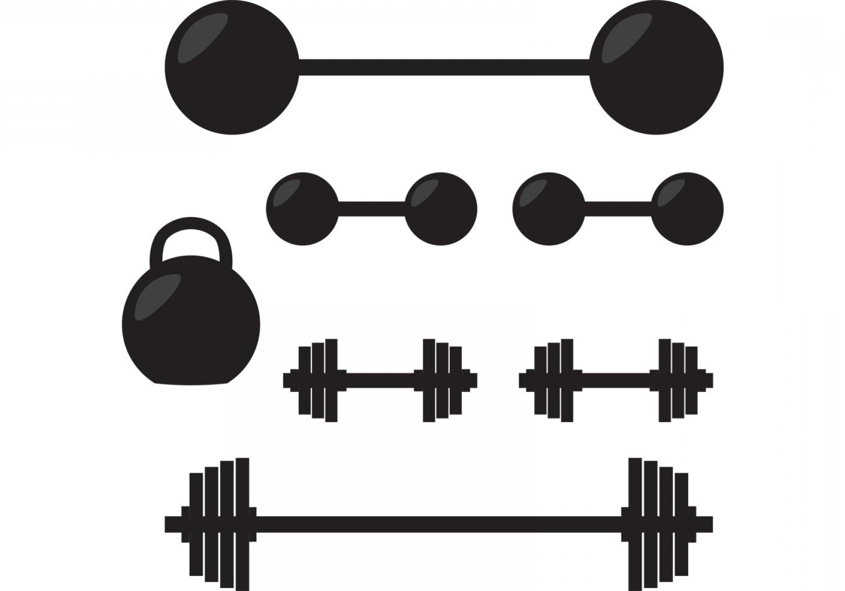 Vector Weight Lifting: Silhouette Of Gym Vector Weights