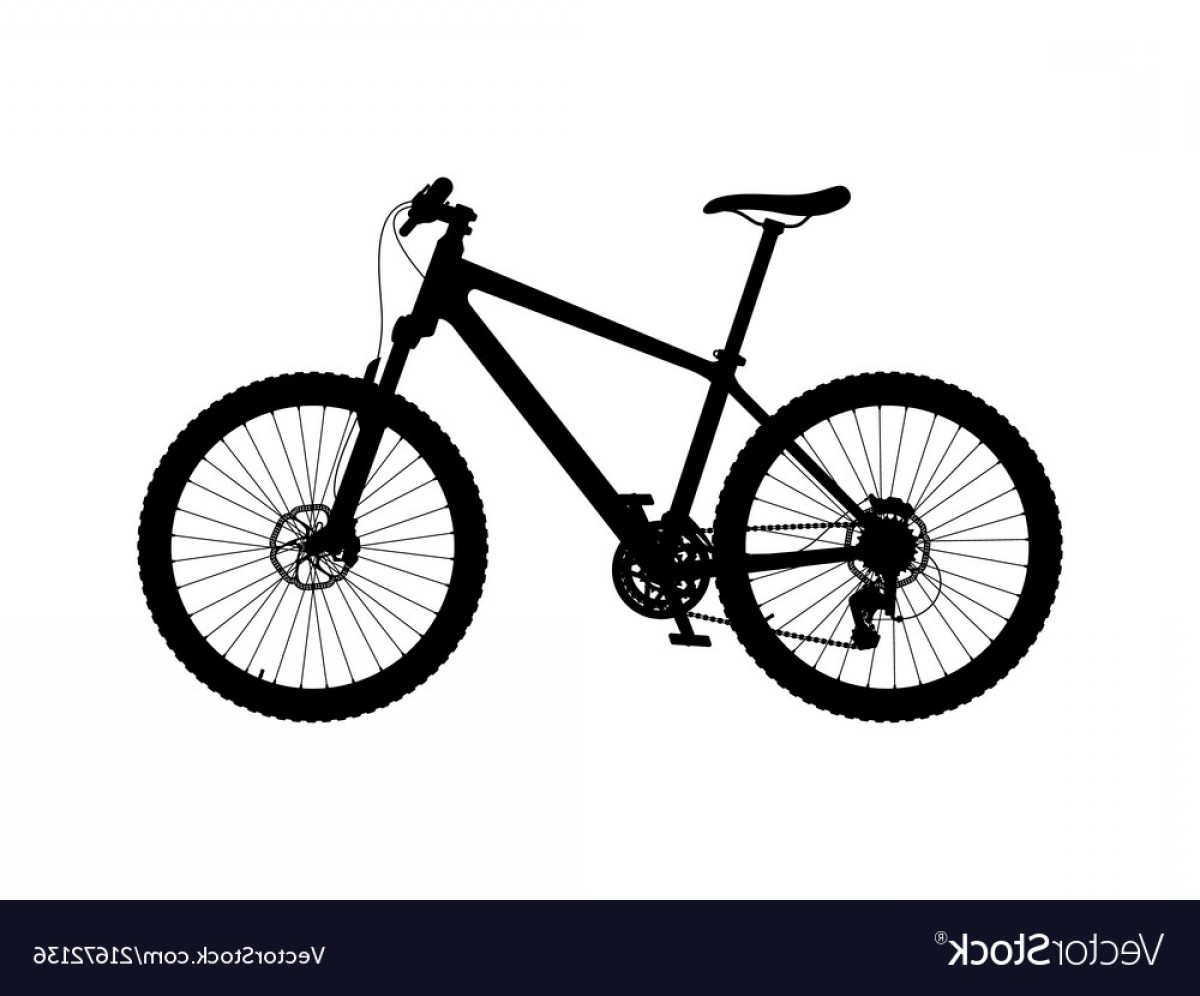 Mountain Bike Silhouette Vector: Silhouette Of Hardtail Mountain Bike Vector