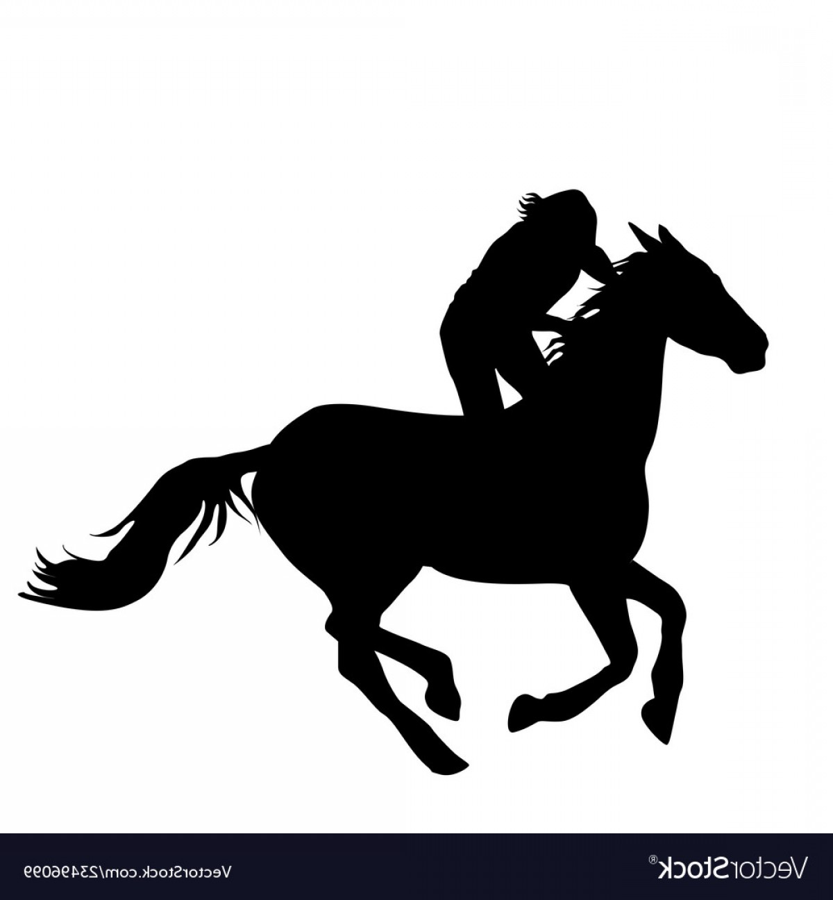 Horse And Rider Vector Art: Silhouette Of Horse Rider Vector