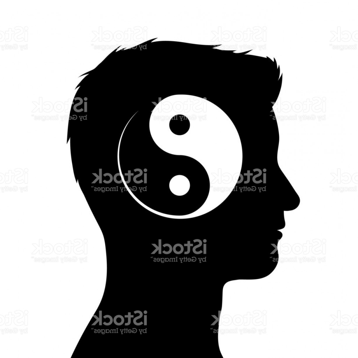 Malee Cat Head Silhouette Vector: Silhouette Of Male Head With Yin Yang Symbol Gm