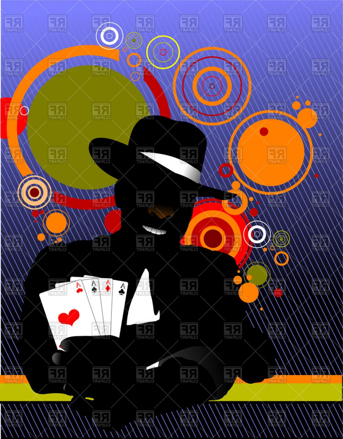 Gambler Vector Art Images: Silhouette Of Man In Hat With Playing Cards In Hand Gambler Vector Clipart