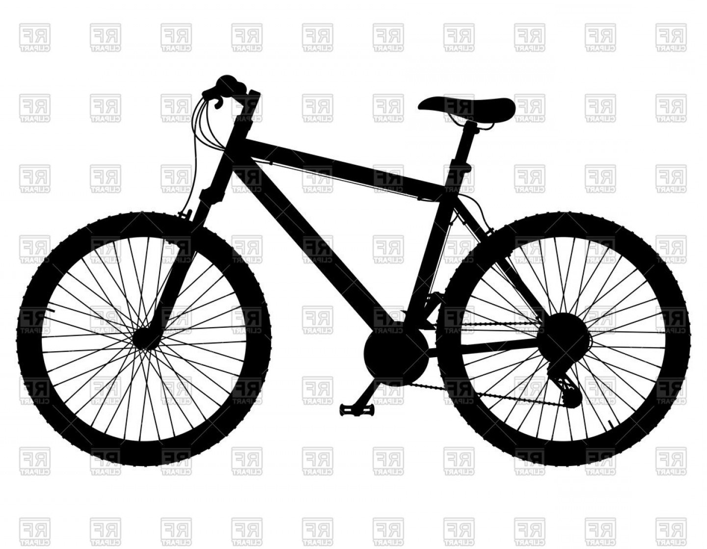 Mountain Bike Silhouette Vector: Silhouette Of Mountain Bike With Gear Shifting Vector Clipart