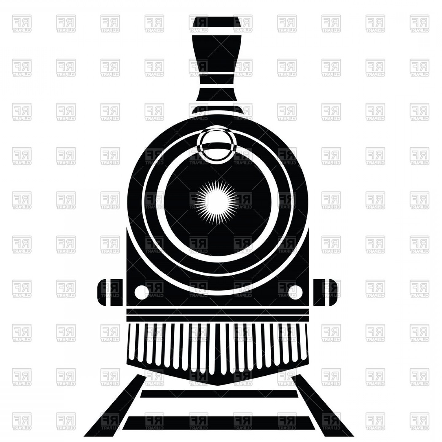 Railroad Logos Vector Format: Silhouette Of Old Locomotive On Railroad Front View Vector Clipart