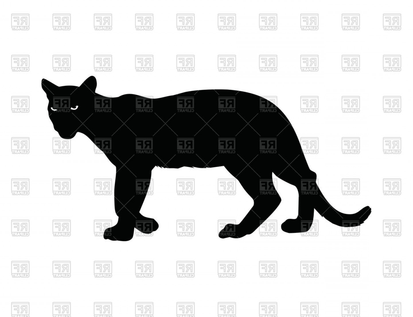 Panther Silhouette Vector: Silhouette Of Panther With Burning Eyes Vector Clipart