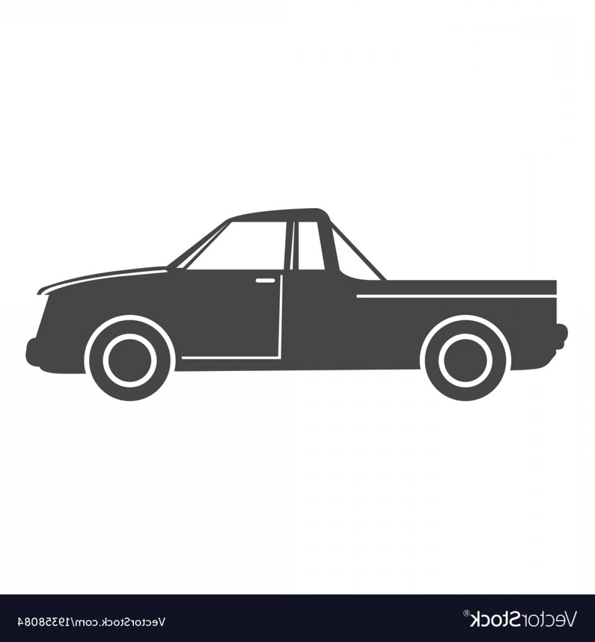 Vector Pick Up: Silhouette Of Pick Up Truck Car Simple Icon Vector