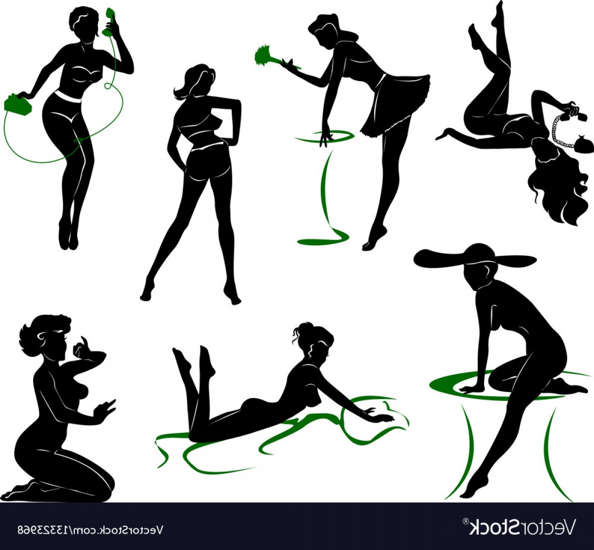 Pin Up Girls Vector Stock: Silhouette Of Pin Up Girls Vector