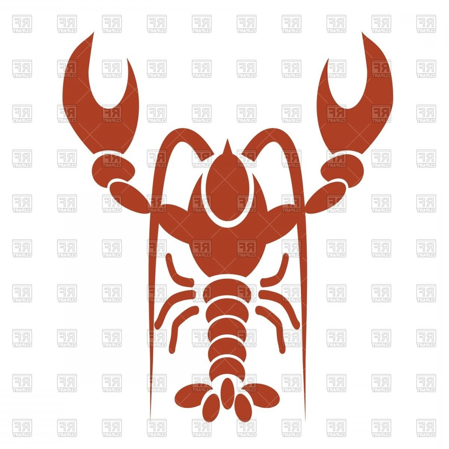 Lobster Clip Art Vector: Silhouette Of Red Lobster Or Crawfish Vector Clipart