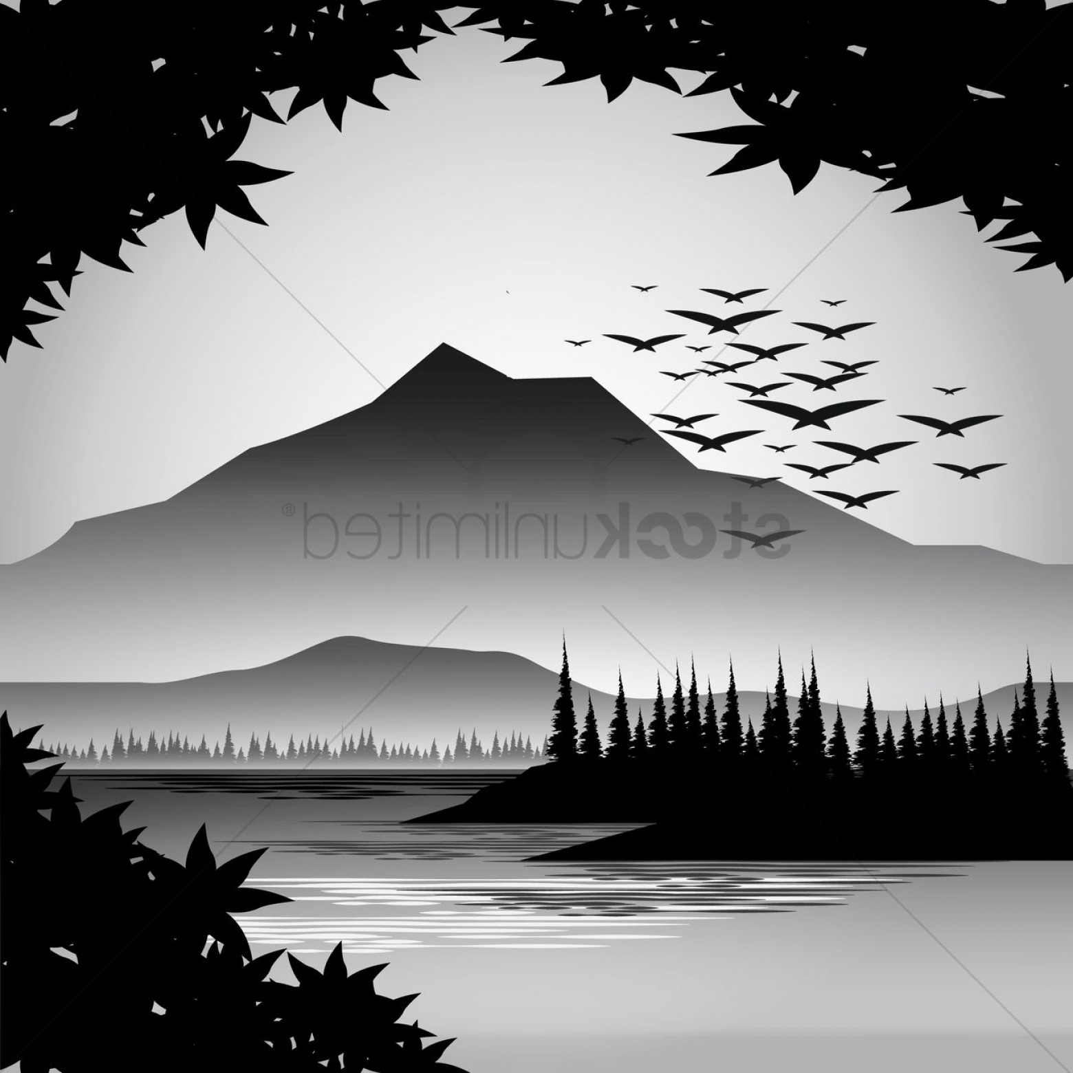 River Silhouette Vector Art: Silhouette Of River And Mountain View