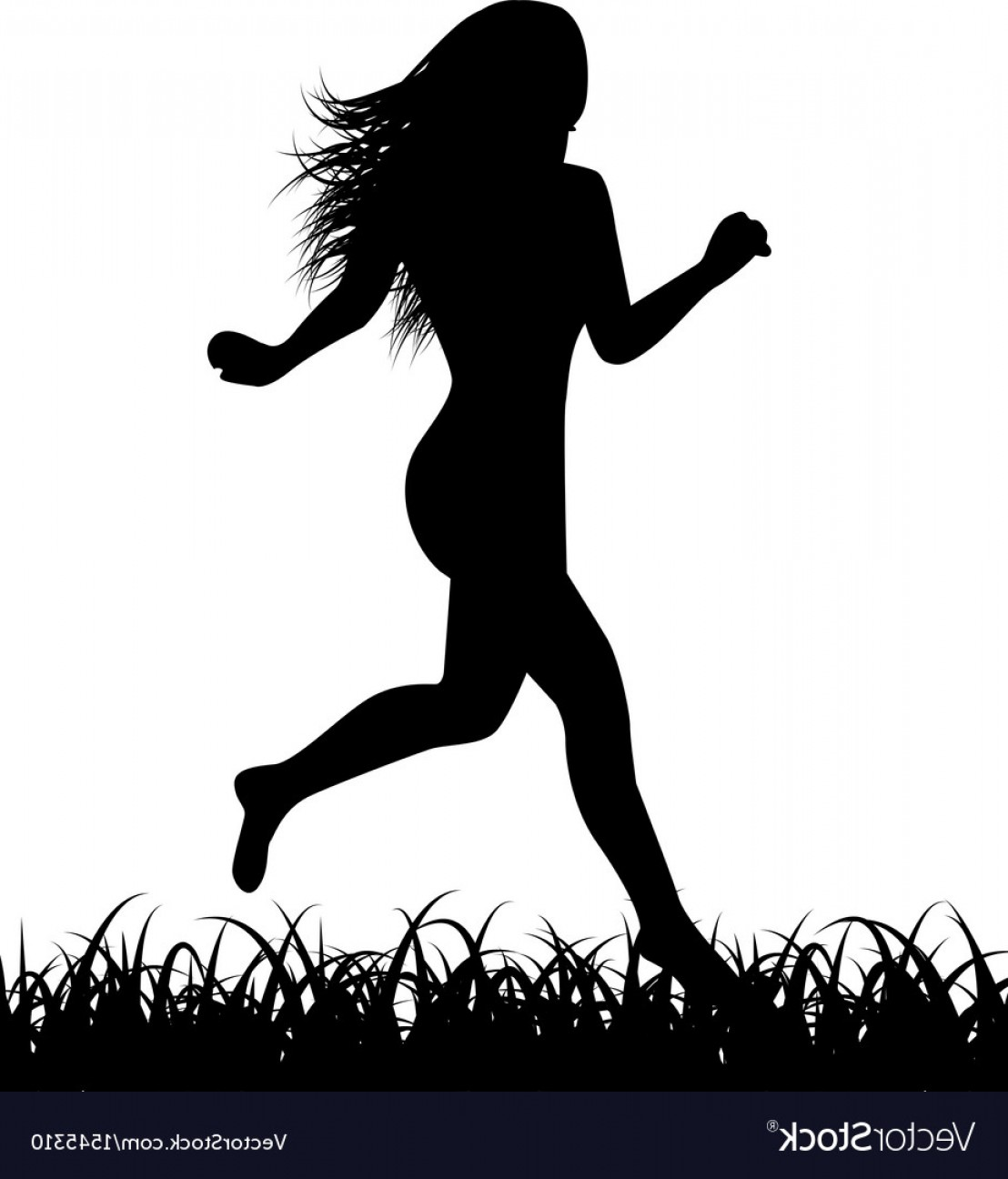 Vector Silhouette Of Girl Running Track: Silhouette Of Running Woman Vector