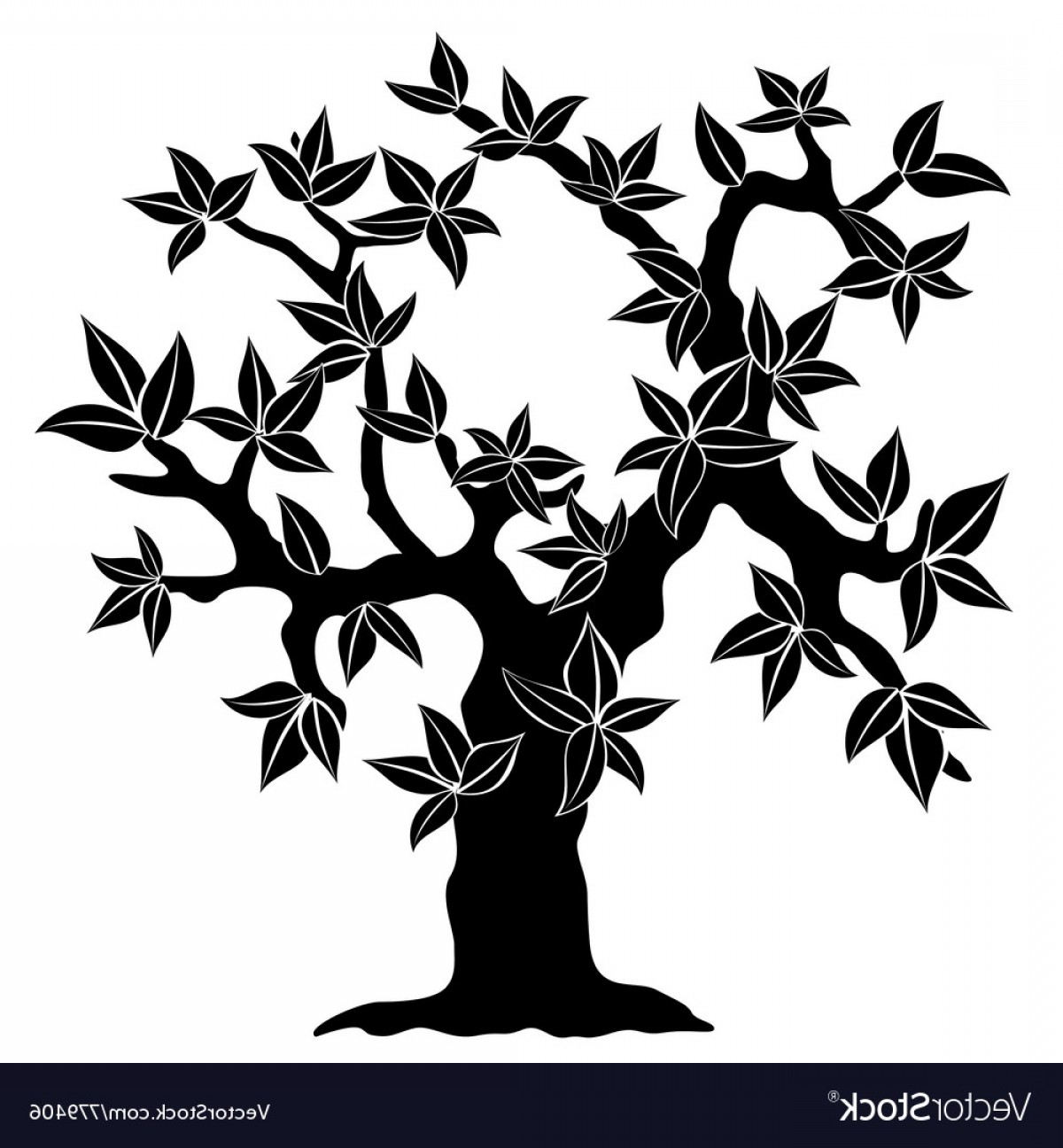 Spring Vector Silhouette: Silhouette Of Spring Tree Vector