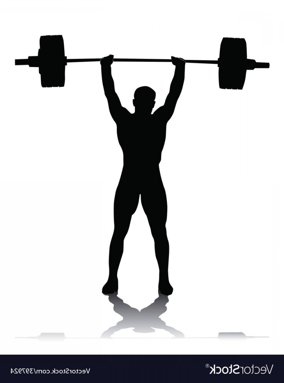 Weightlifter Vector Art: Silhouette Of The Weightlifter Vector