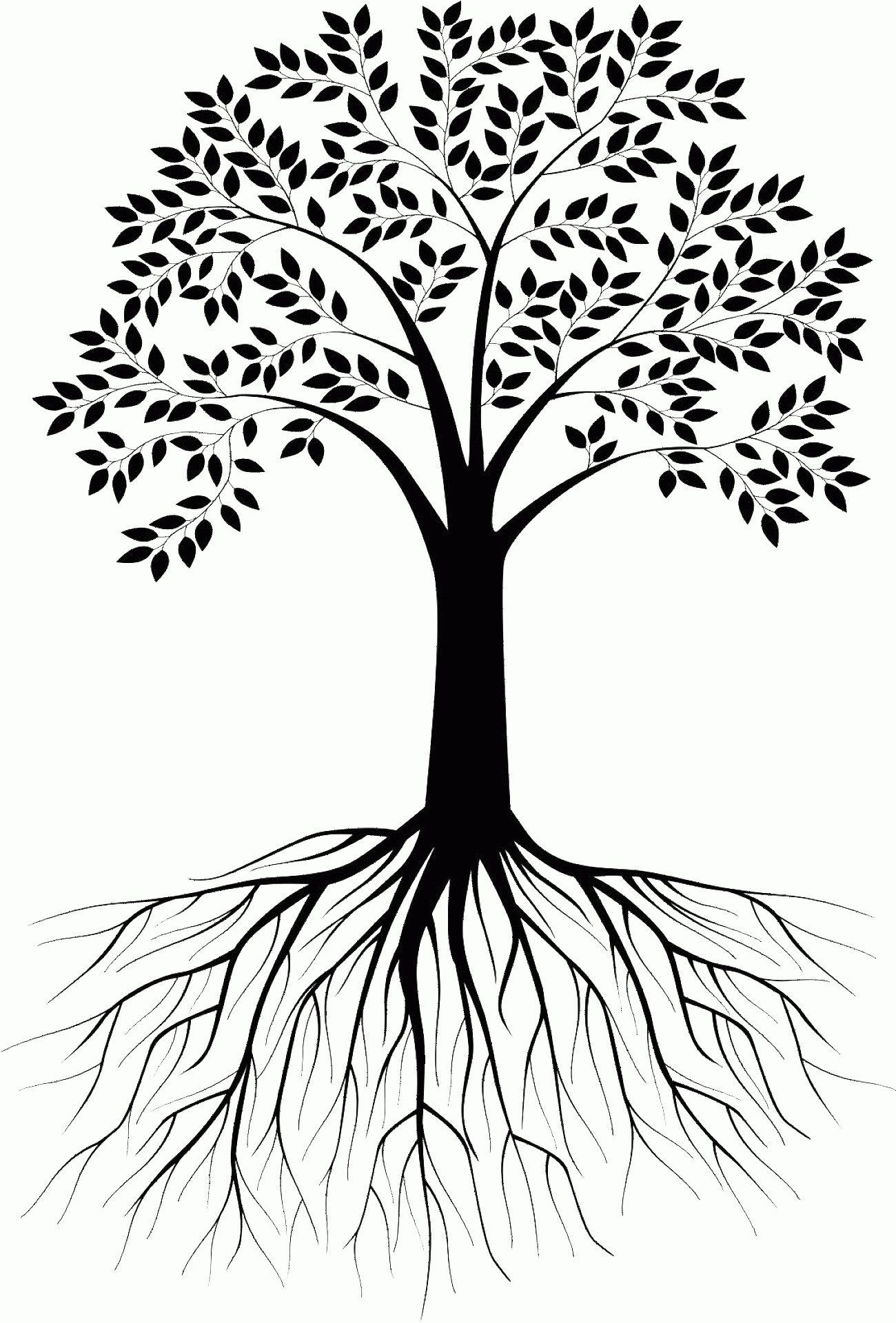 Vector Tree With Roots Drawing: Silhouette Of Tree With Roots