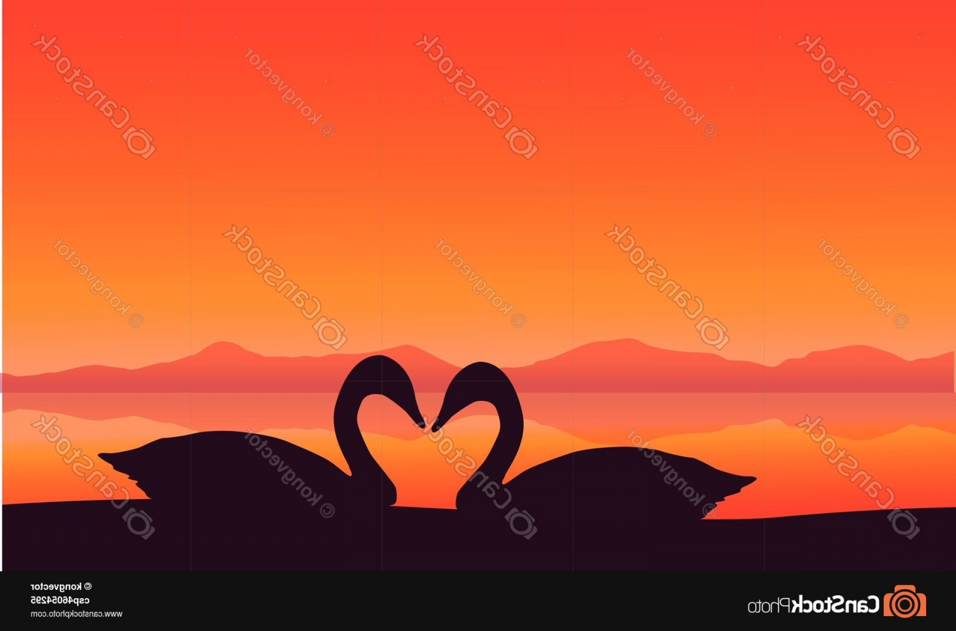 Swan Silhouette Vector: Silhouette Of Two Swan At Sunset Scenery