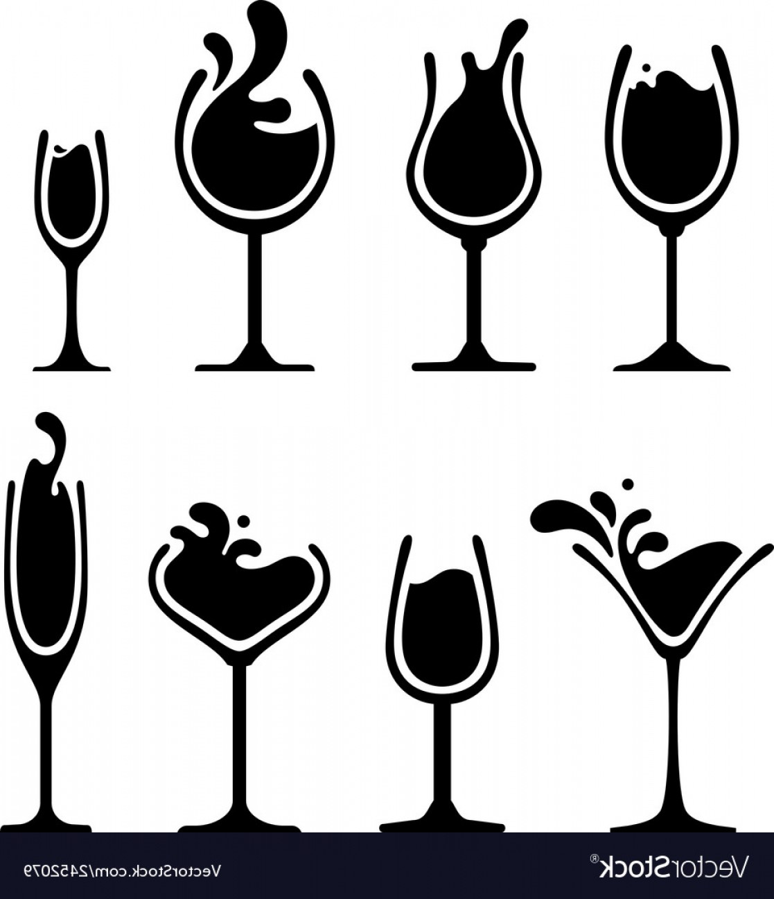 Single Wine Glass Silhouette Vector: Silhouette Of Wine Glass With Splash Vector