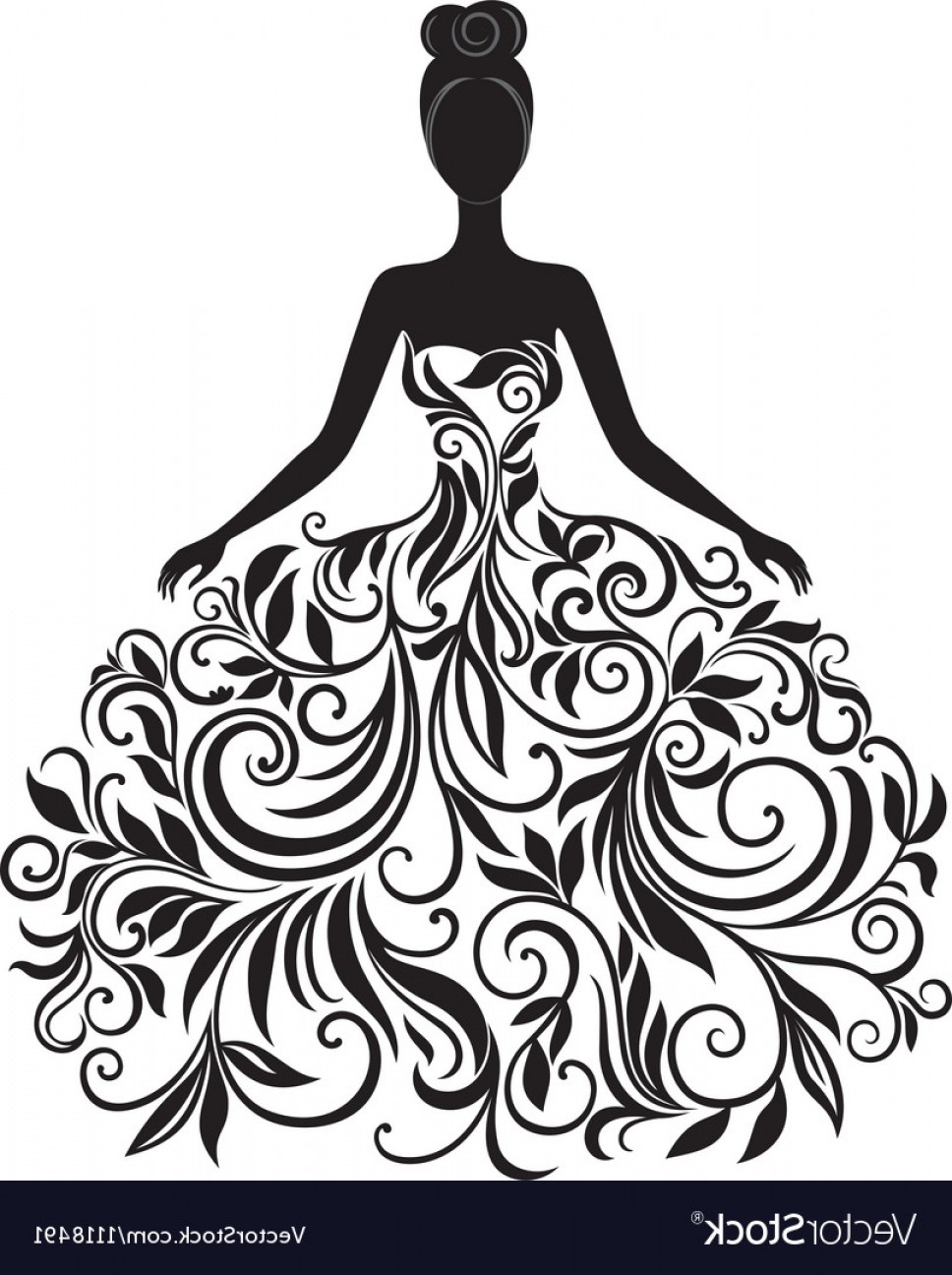 Elegant Woman Silhouette Vector: Silhouette Of Young Woman In Dress Vector