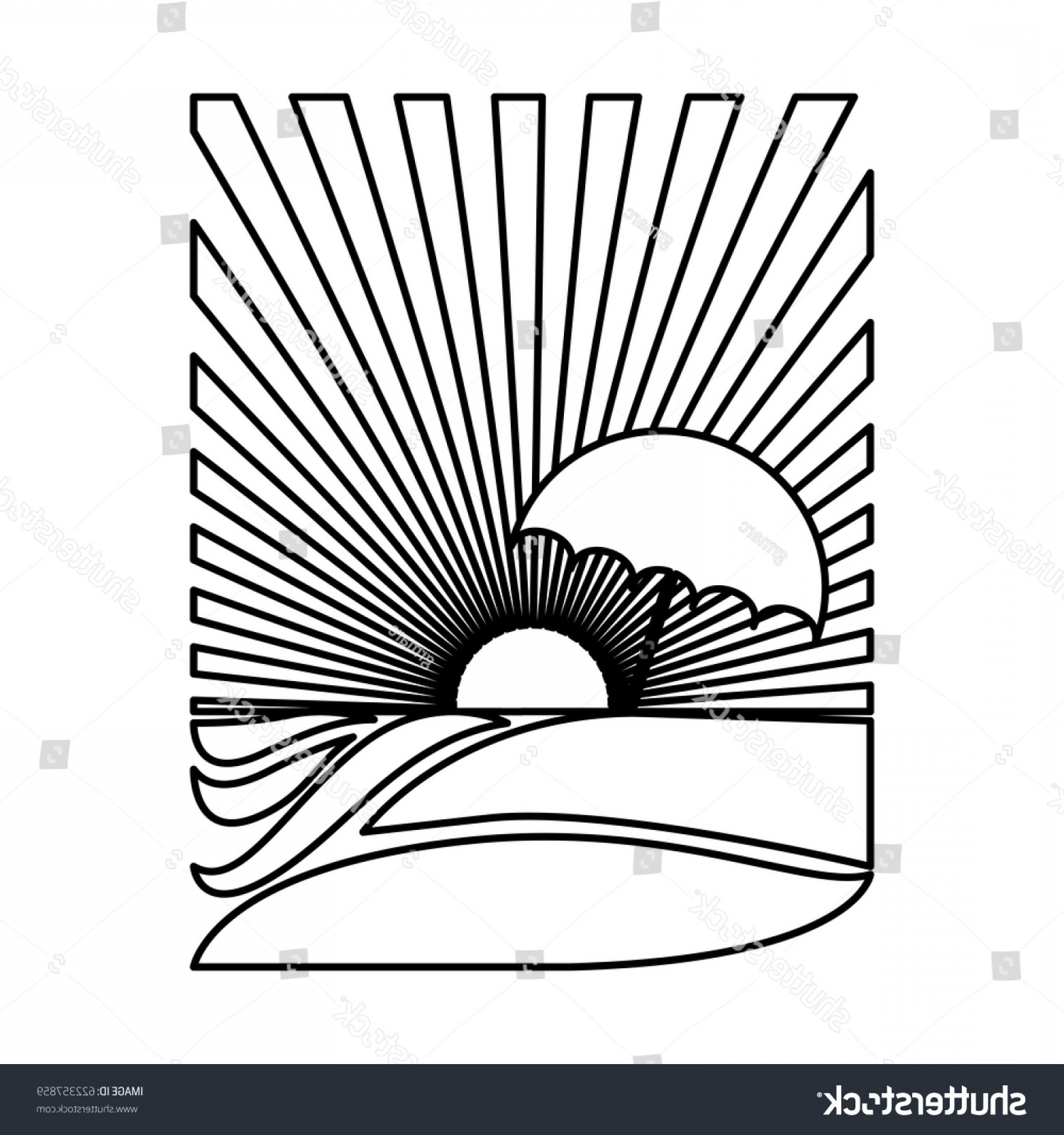 Sunset Black And White Backgrounds Vector: Silhouette Rectangular Background Sunset Beach Umbrella
