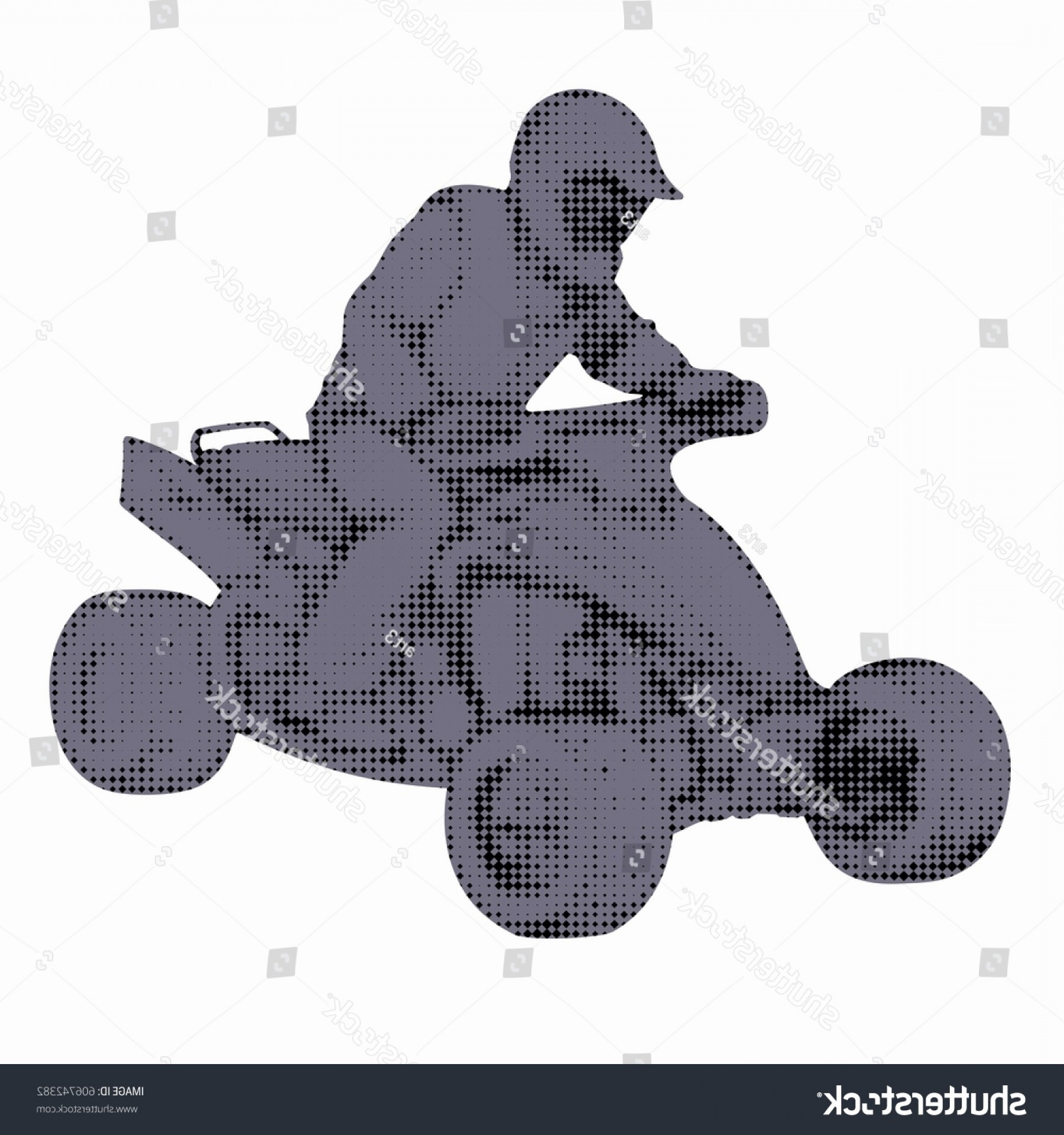 ATV Rider Vector: Silhouette Rider Atv Cartoon Pixel Image