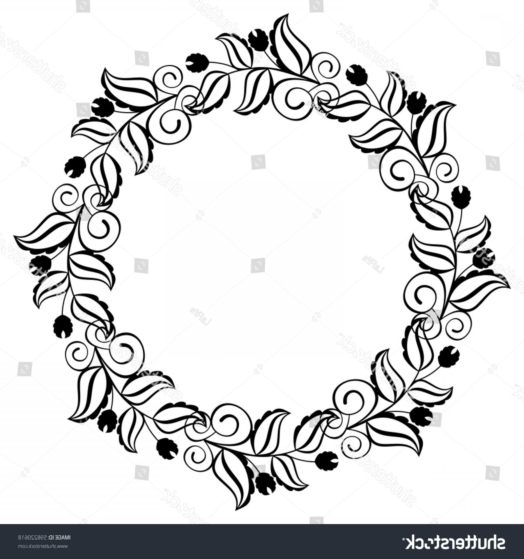 Round Frame Vector Silhouette: Silhouette Round Frame Abstract Black White