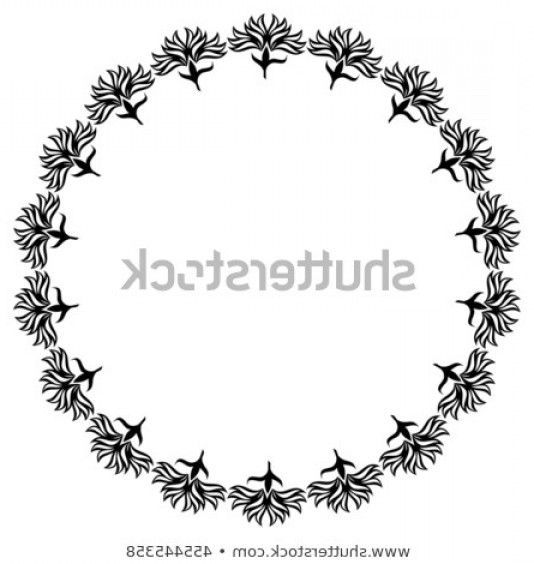 Round Frame Vector Silhouette: Silhouette Round Frame Vector Clip Art