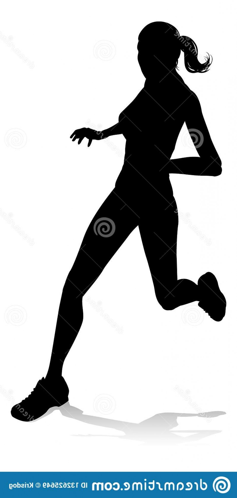 Vector Silhouette Of Girl Running Track: Silhouette Runner Race Track Field Event Runner Racing Track Field Silhouette Image