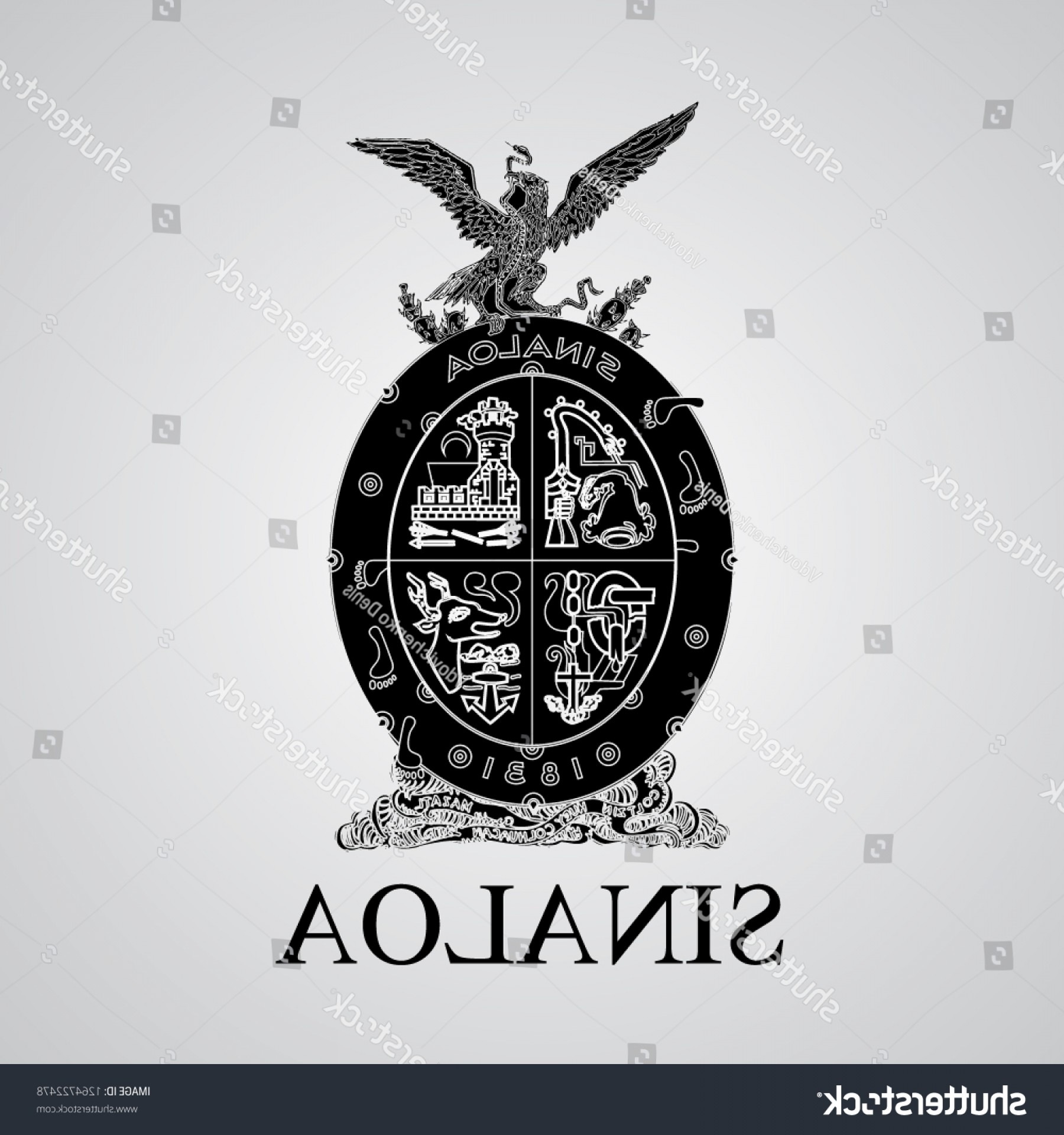 Crest And Coat Of Arms Vector Silhouette: Silhouette Sinaloa Coat Arms Mexican State