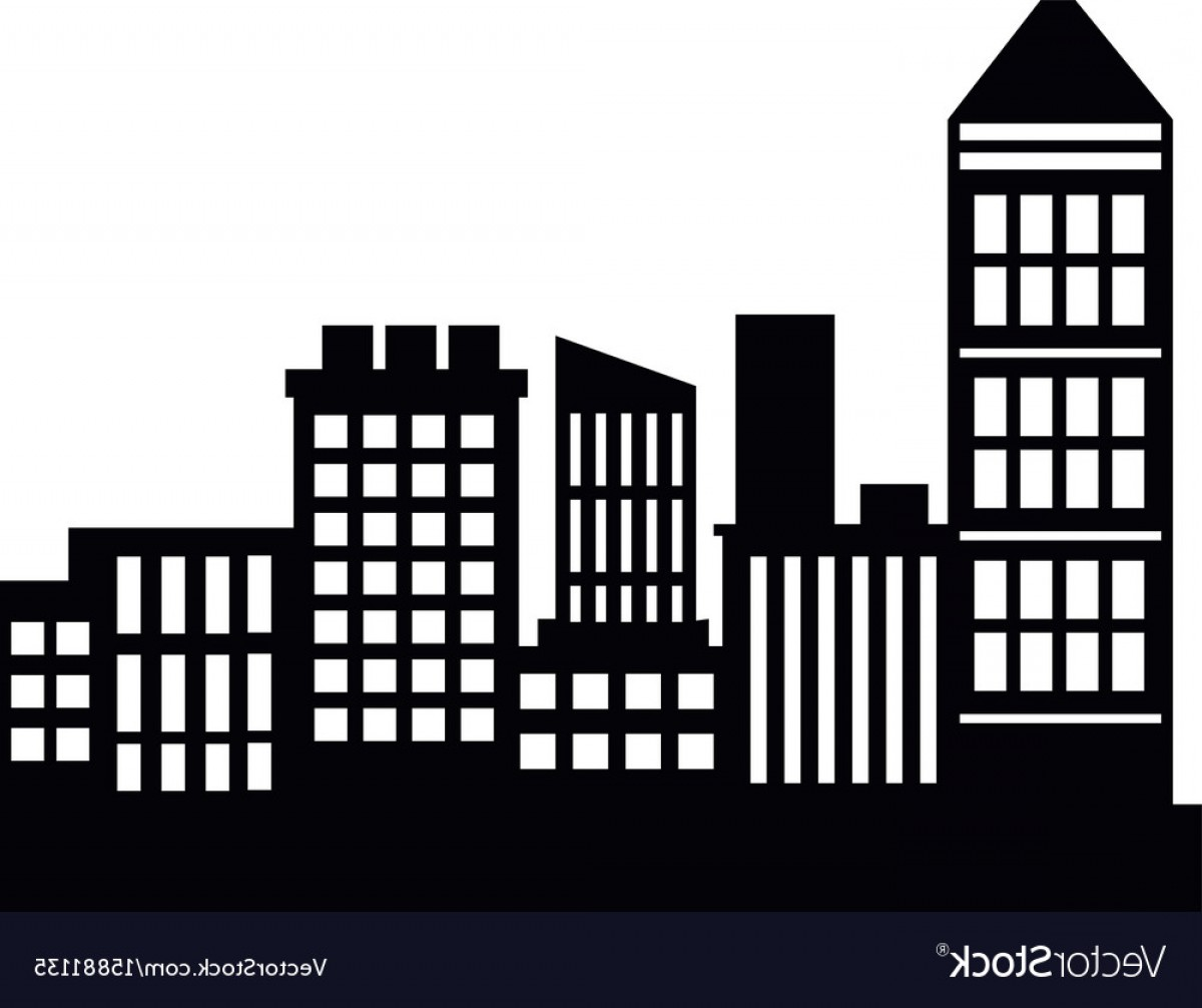 Architecture Vector: Silhouette Skyscrapers Building City Architecture Vector