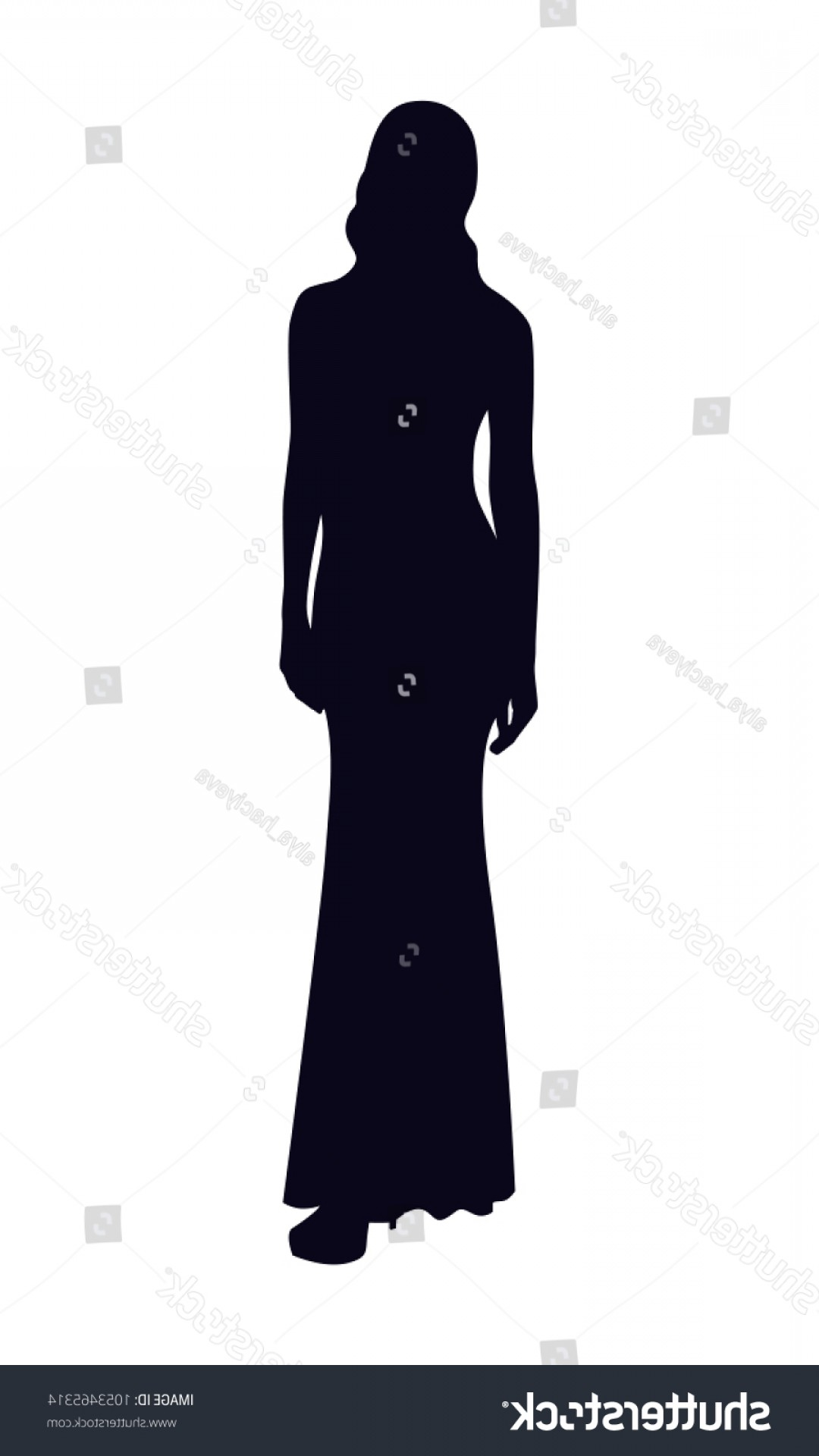 Young Woman Silhouette Vector: Silhouette Slim Young Woman Long Evening