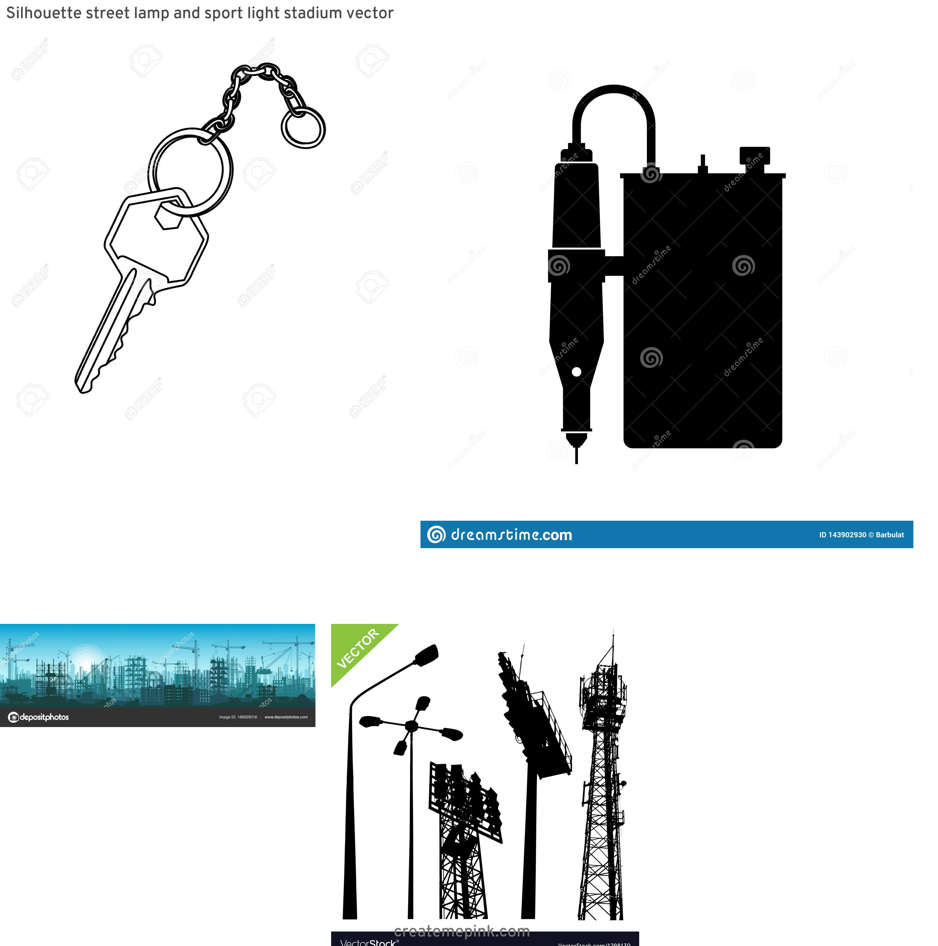Vector Silhouette Metal Project: Silhouette Street Lamp And Sport Light Stadium Vector