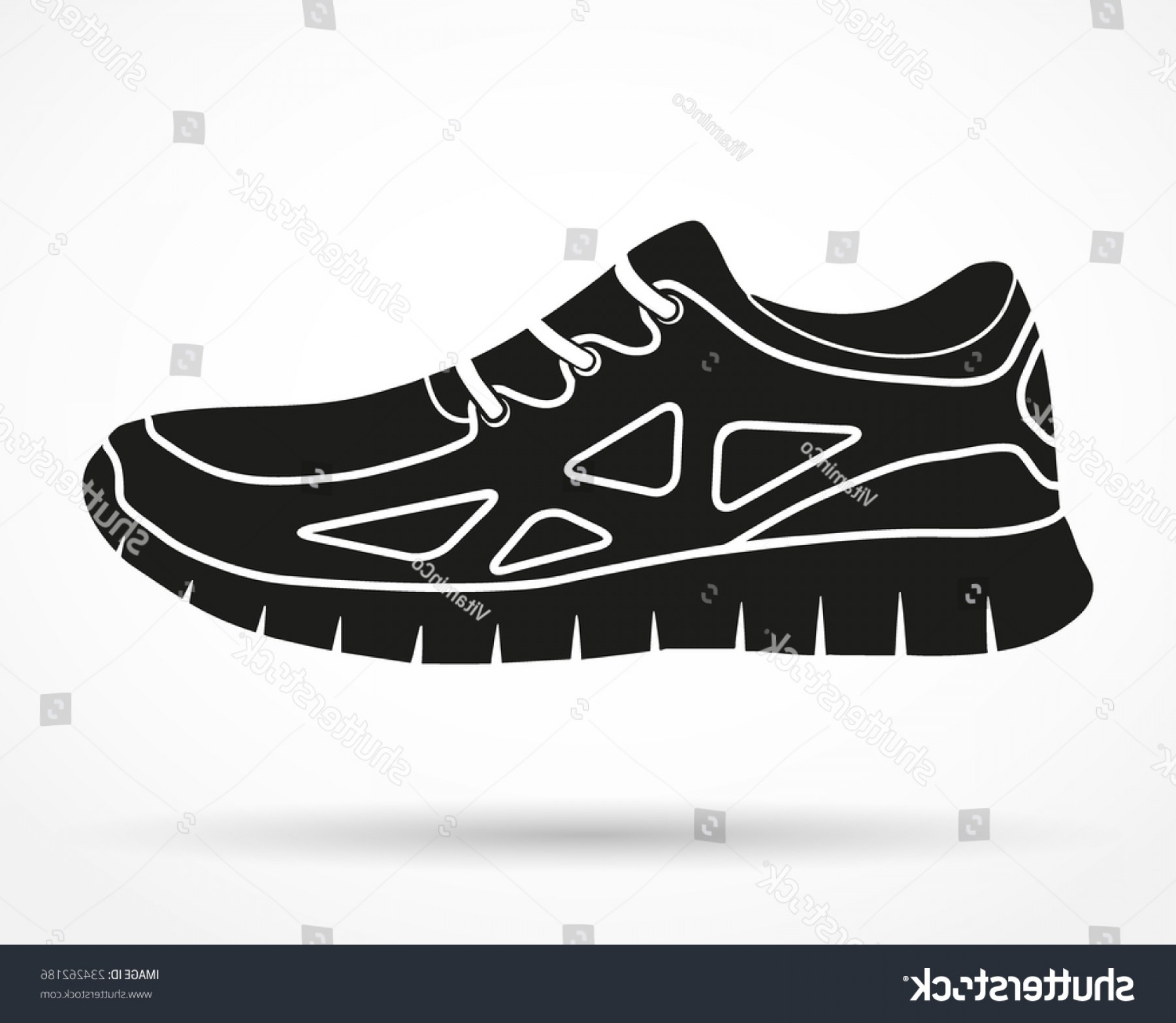 Sneaker Silhouette Vector: Silhouette Symbol Shoes Running Fitness Sneakers