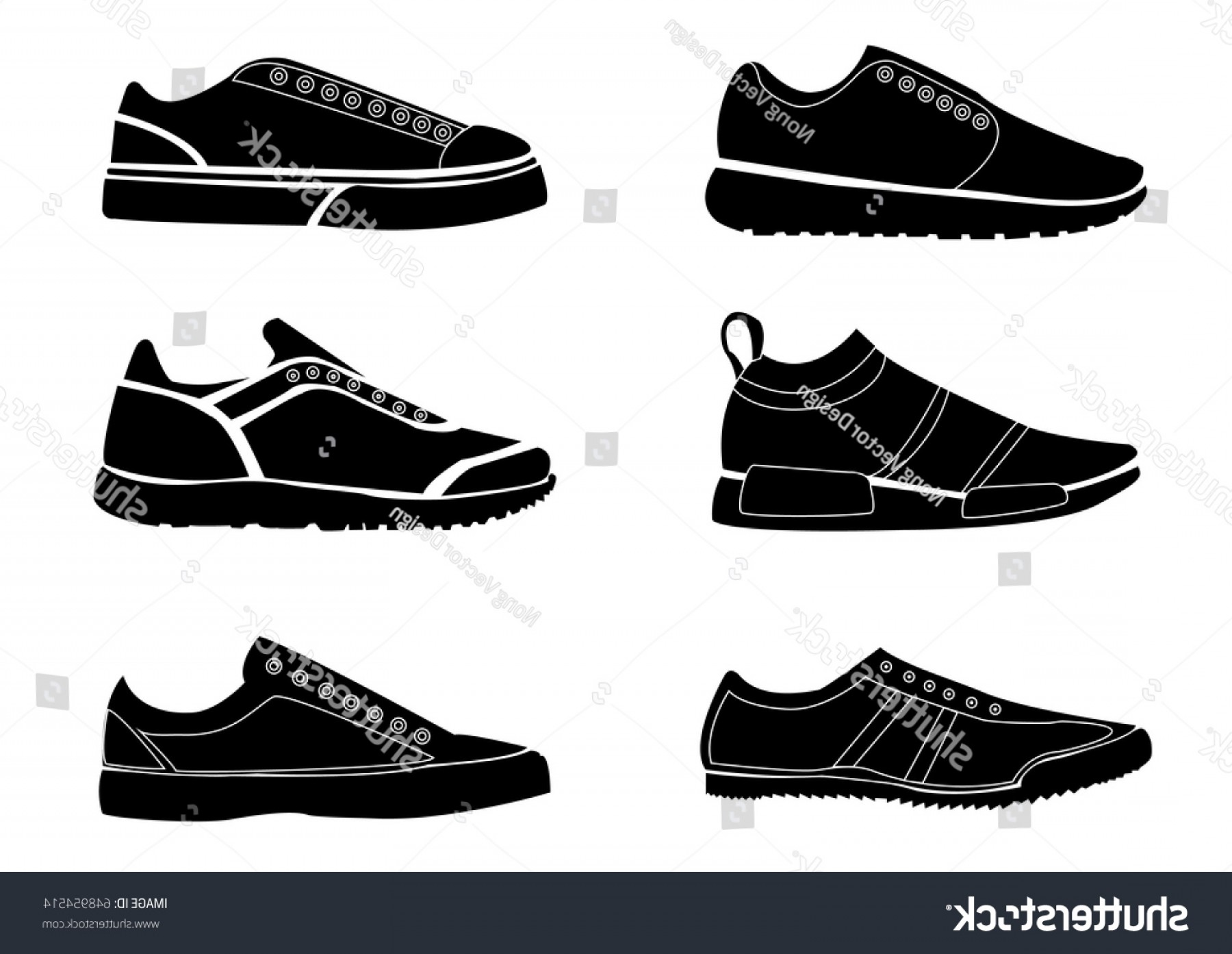 Sneaker Silhouette Vector: Silhouette Symbol Shoes Set Sports Shoe