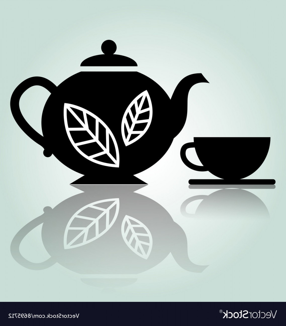 Teapot And Cup Vector: Silhouette Teapot With Cup Vector