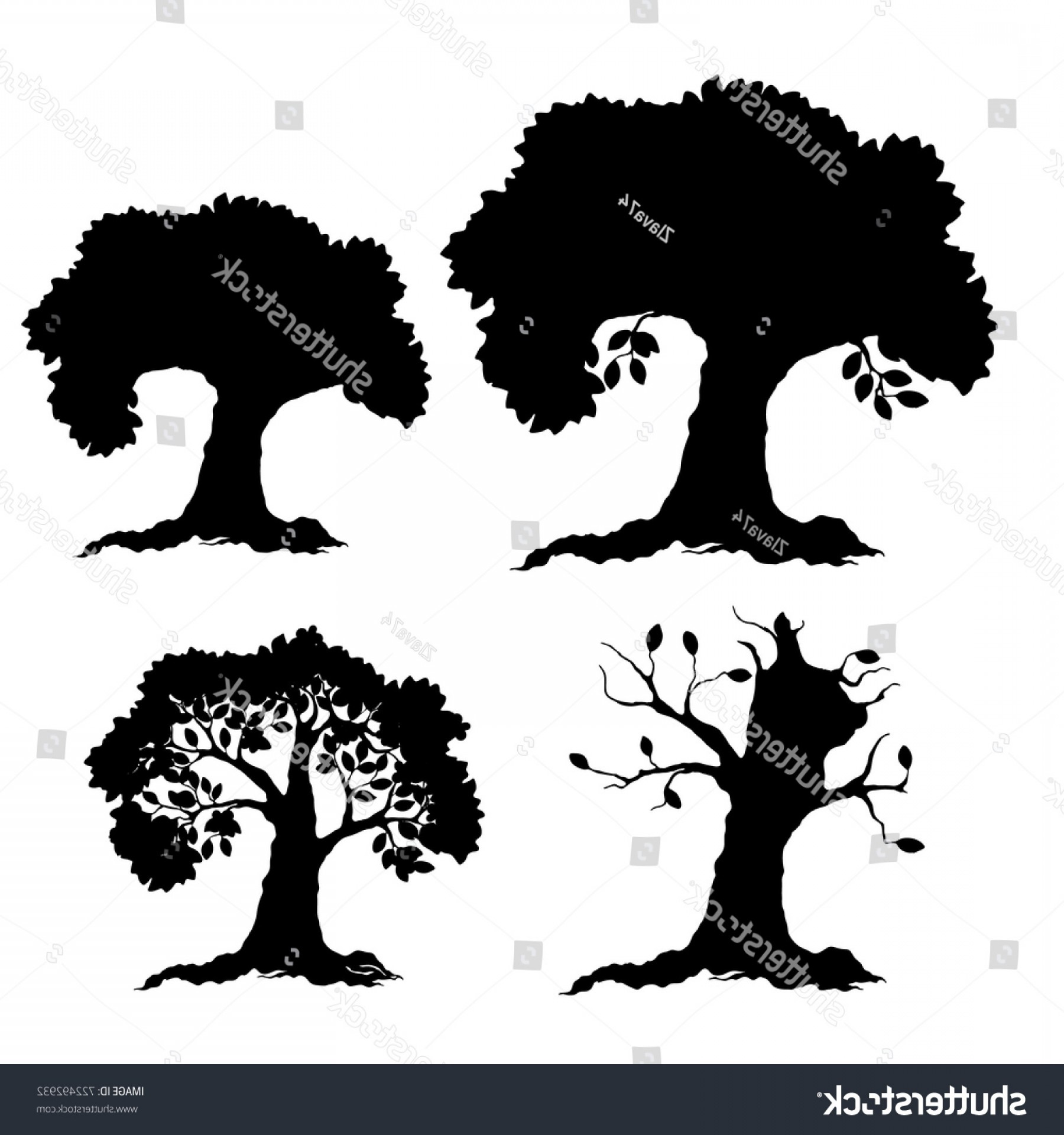 Spring Vector Silhouette: Silhouette Tree Season Winter Spring Summer