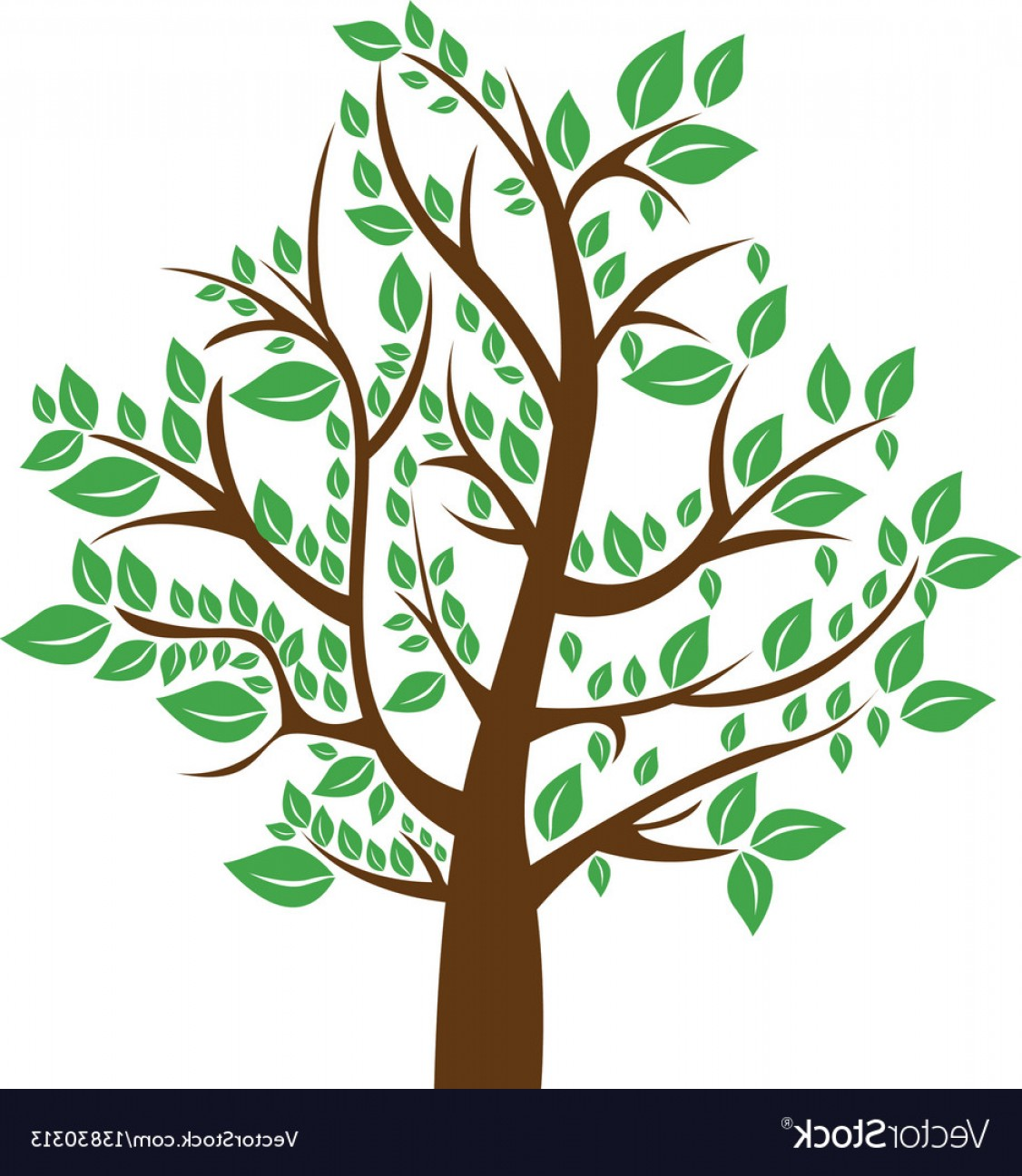 Tree Trunk Silhouette Vector: Silhouette Tree With Brown Trunk And Green Leaves Vector