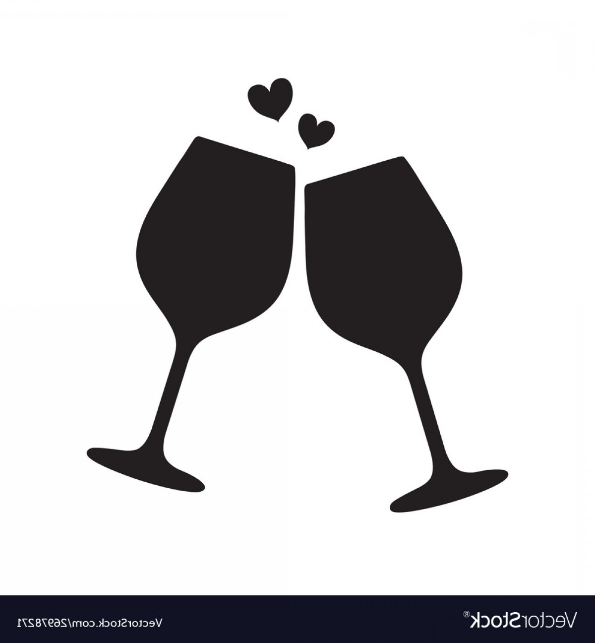 Single Wine Glass Silhouette Vector: Silhouette Two Sparkling Glasses Wine Or Vector